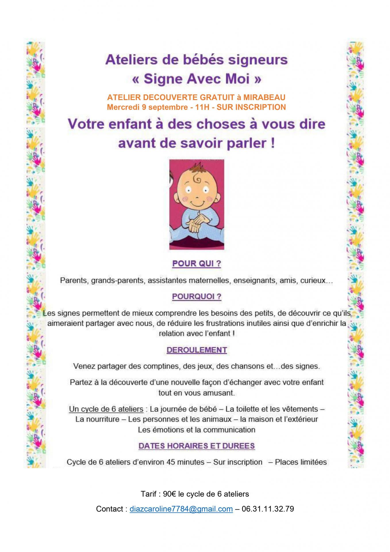 Affiche atelier parents mirabeau